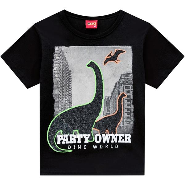 Camiseta Kyly Infantil Masculina Preta Dino