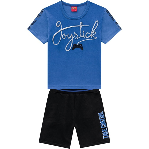 Conjunto Kyly Infantil Masculino Camiseta Bordada + Bermuda Moletom