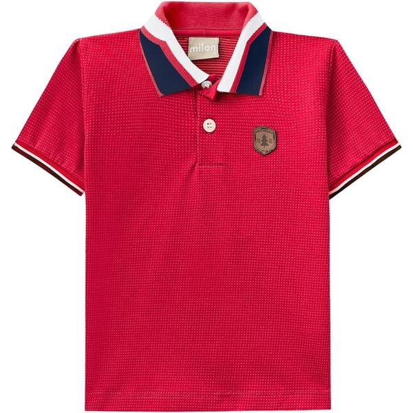 Camiseta Gola Polo Milon Infantil Masculina 4 ao 12 Vermelha