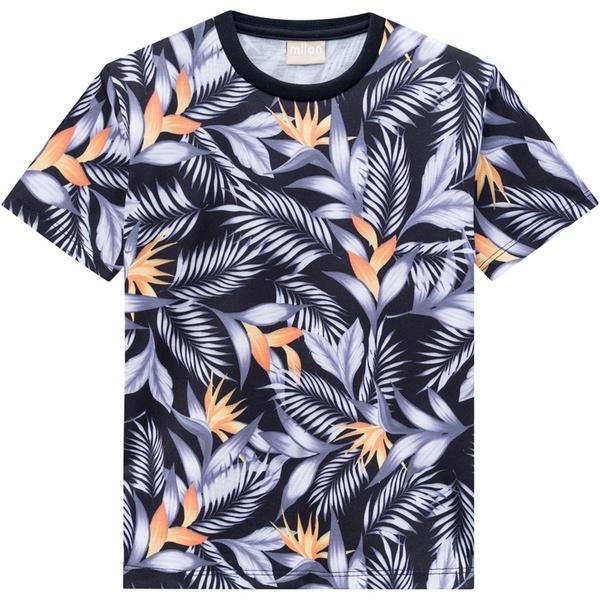 Camiseta Milon Infantil Masculina Estampa Tropical Preta Tamanho 4 ao 12