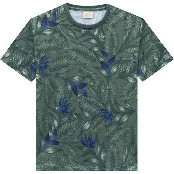 Camiseta Milon Infantil Masculina Estampa Tropical Verde Tamanho 4 ao 12