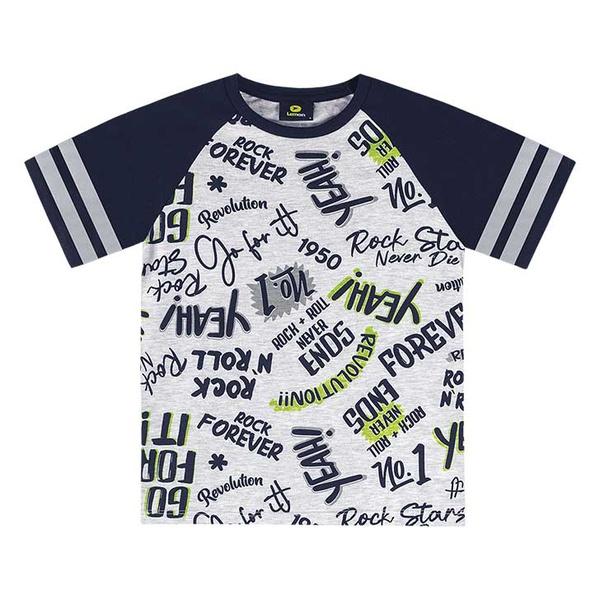 Camiseta Lemon Infantil Masculina 10-12-14 Cinza