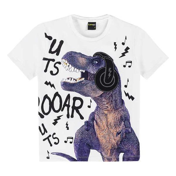Camiseta Lemon Infantil Masculina 4-6-8 Branca Dinossauro