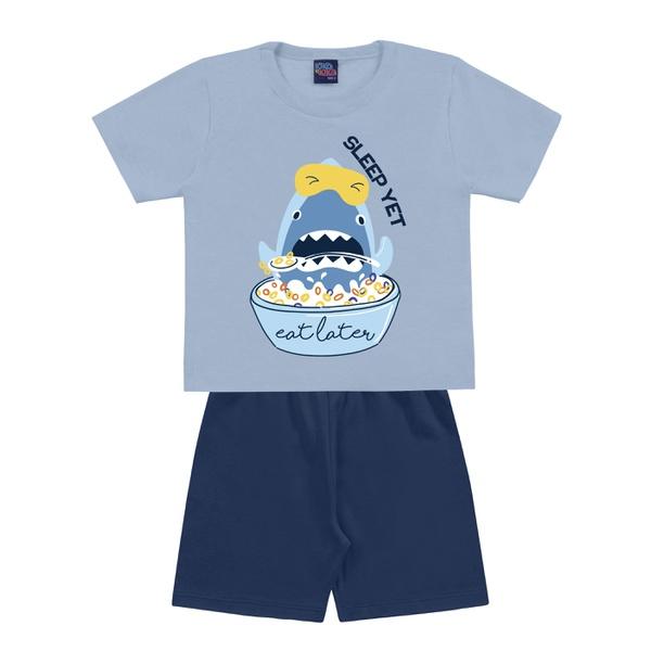 Pijama Kiko e Kika Bebê Masculino 1-2-3 - Azul Claro com Azul Escuro
