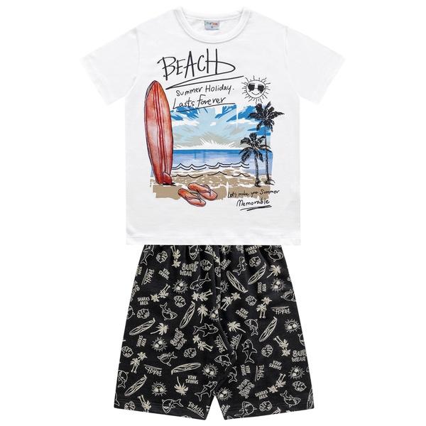 Conjunto Fakini Infantil Masculino 4 ao 10 Praia- Branco
