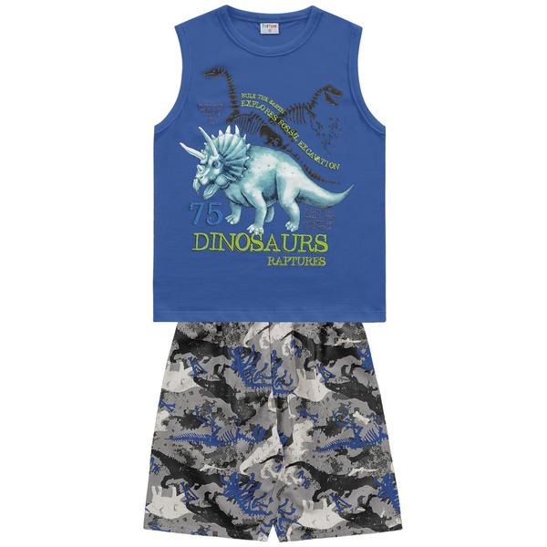 Conjunto Fakini Infantil Masculino 4-6-8 Azul Dinossauro