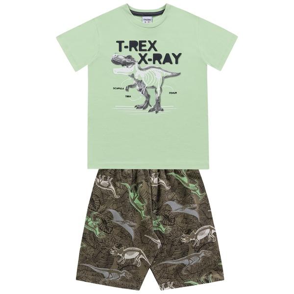 Conjunto Fakini Infantil Masculino 4 ao 10 Verde - Dinossauro