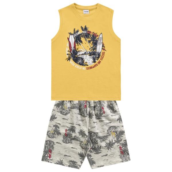 Conjunto Fakini Infantil Masculino 12-14-16 Regata Amarela