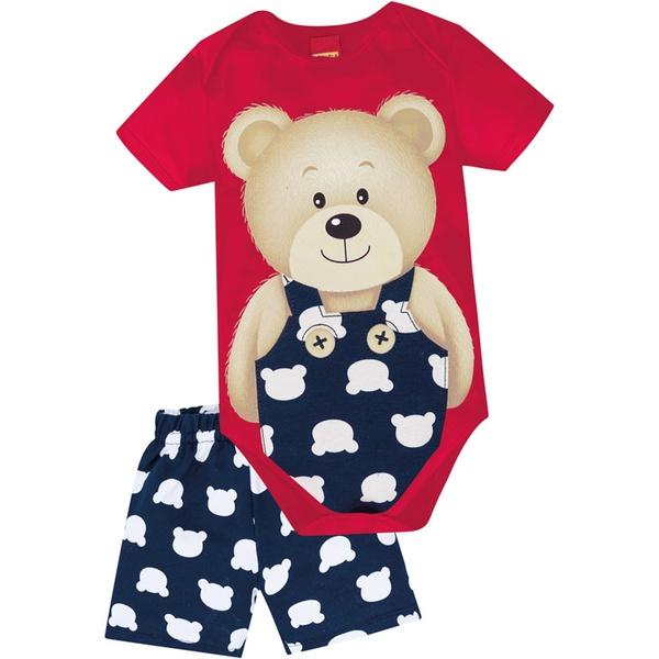 Conjunto Kyly Masculino Bebê Body + Bermuda Moletom Estampa Urso