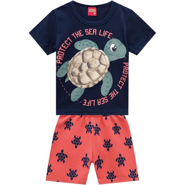 Conjunto Kyly Bebê Masculino Camiseta + Bermuda Tartarugas