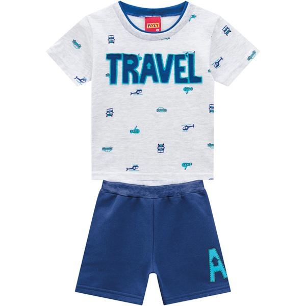 Conjunto Kyly Bebê Masculino Camiseta + Bermuda Moletom