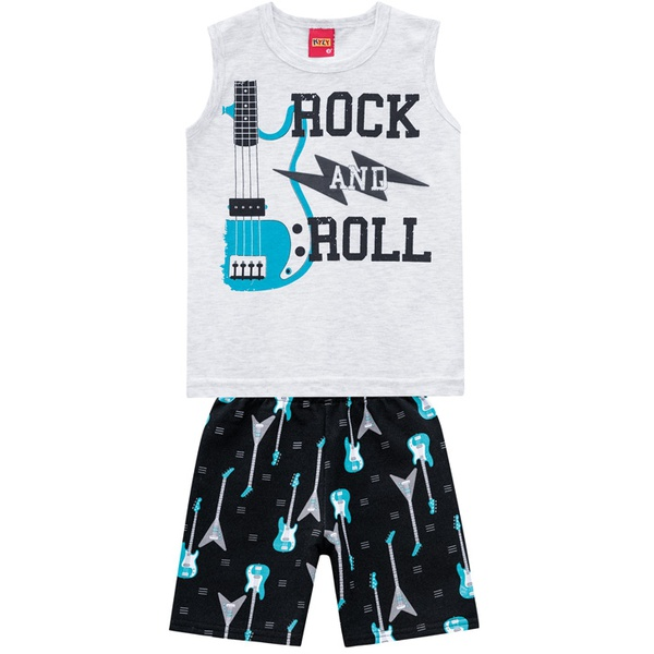 Conjunto Kyly Masculino Infantil Cinza - Rock And Roll