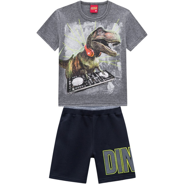 Conjunto Kyly Masculino Infantil Camiseta Estampa Dinossauro DJ + Bermuda Moletom