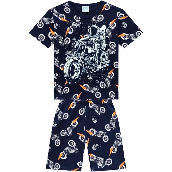 Pijama Kyly Bebê Masculino Camiseta Estampa Astronauta de Moto + Bermuda