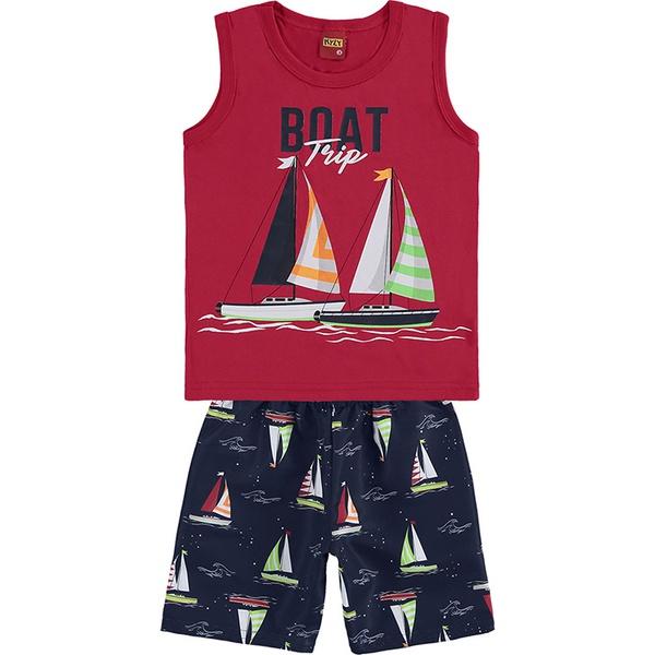 Conjunto Kyly Infantil Masculino 4-6-8 Vermelho com Marinho Barcos