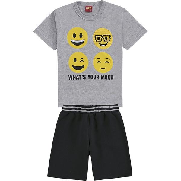 Conjunto Kyly Infantil Masculino 4-6-8 Cinza com Preto Emoji