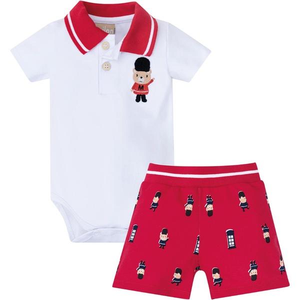 Conjunto Milon Bebê Masculino Body Cotton + Bermuda Moletinho