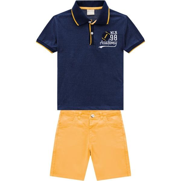 Conjunto Milon Bebê Masculino Camiseta Gola Polo e Bermuda Sarja Tamanho 1 ao 3
