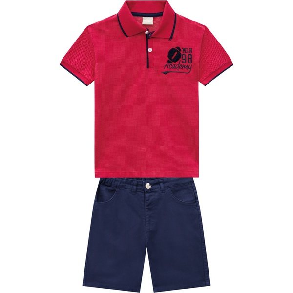 Conjunto Milon Infantil Masculino Camiseta Gola Polo e Bermuda Sarja Tamanho 4 ao 12