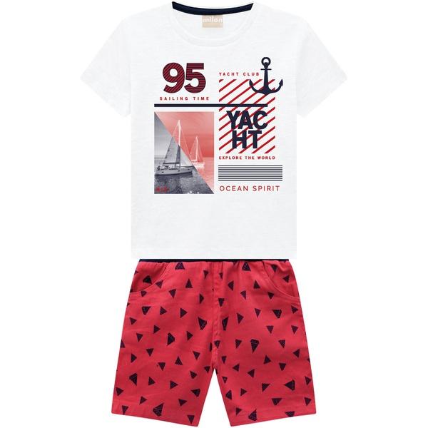 Conjunto Milon Bebê Masculino 1-2-3 Branco com Vermelho