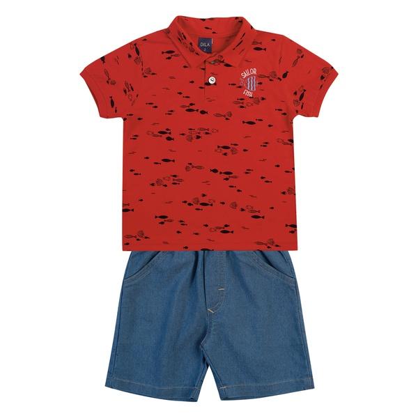 Conjunto Dila Bebê Masculino Camiseta Gola Polo Estampa Peixinhos e Bermuda Jeans