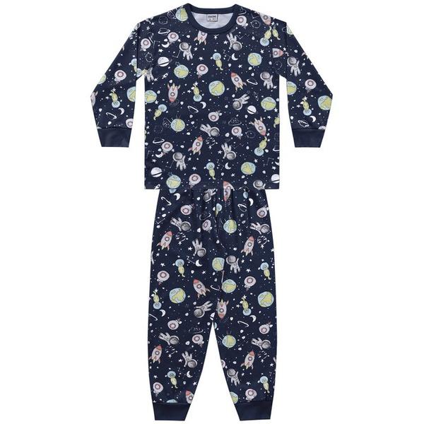 Pijama Fakini Infantil Masculino Camiseta Manga Longa e Calça Tamanho 4 ao 10