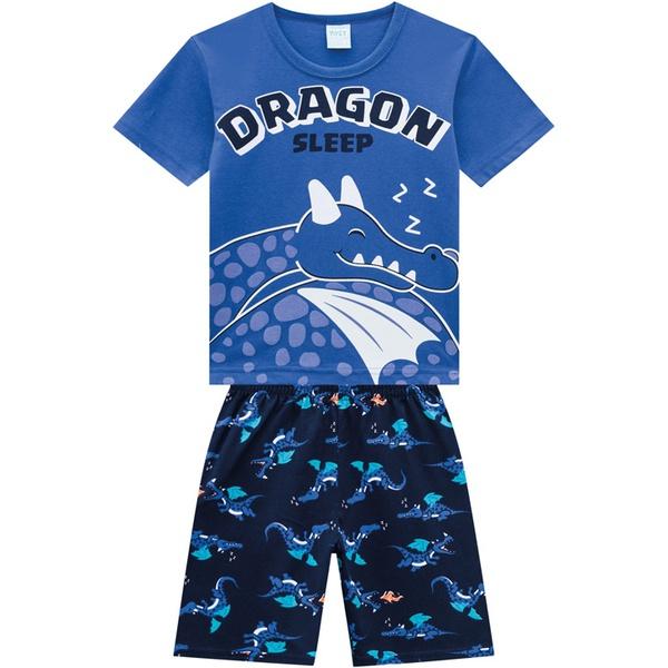 Pijama Kyly Bebê Masculino Camiseta Dragão em Relevo + Bermuda
