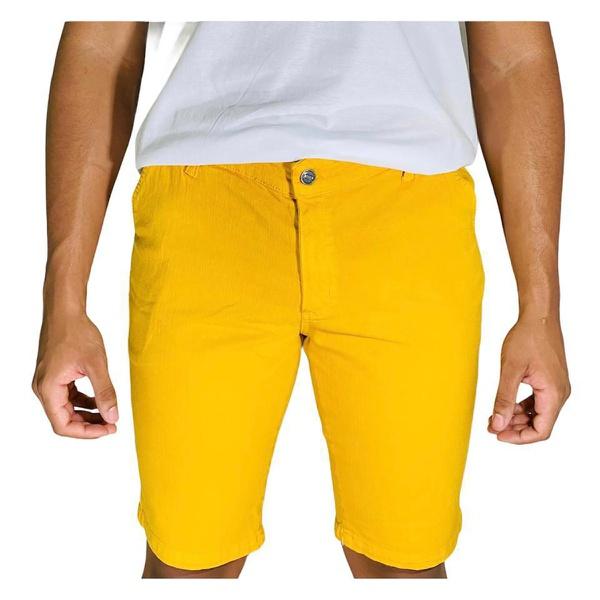 Bermuda Casual Sarja Lisa Masculino - Amarelo