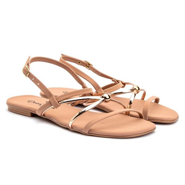 Sandália de Tiras Rasteira Fashion Feminina - Nude