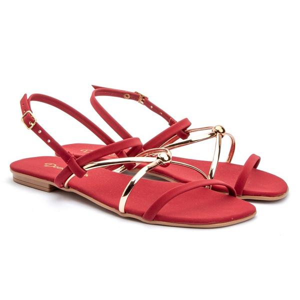 Sandália de Tiras Rasteira Fashion Feminina - Vermelha