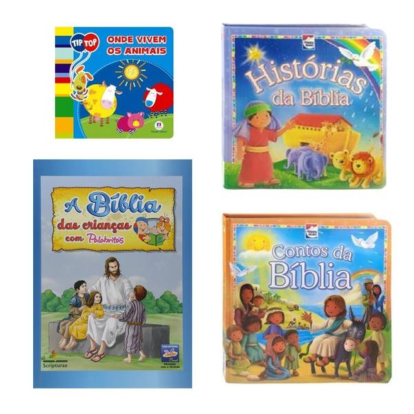 Livros Bíblicos infantil crianças Menino e Menina kit 4 und