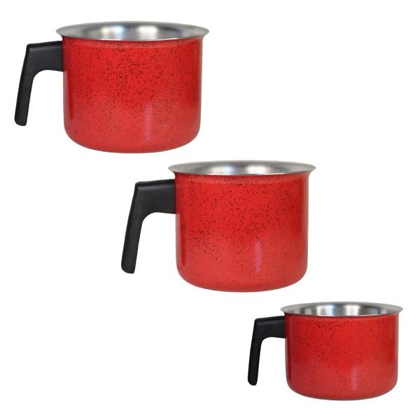 Canecão copo alumínio vermelho cozinha café leite chá kit 3un