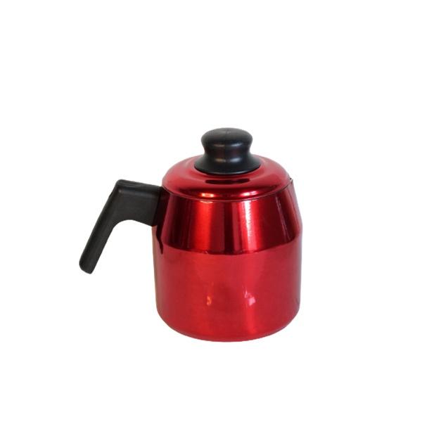 Leiteira fervedor vermelha Rubi craqueada com tampa 1,2 L