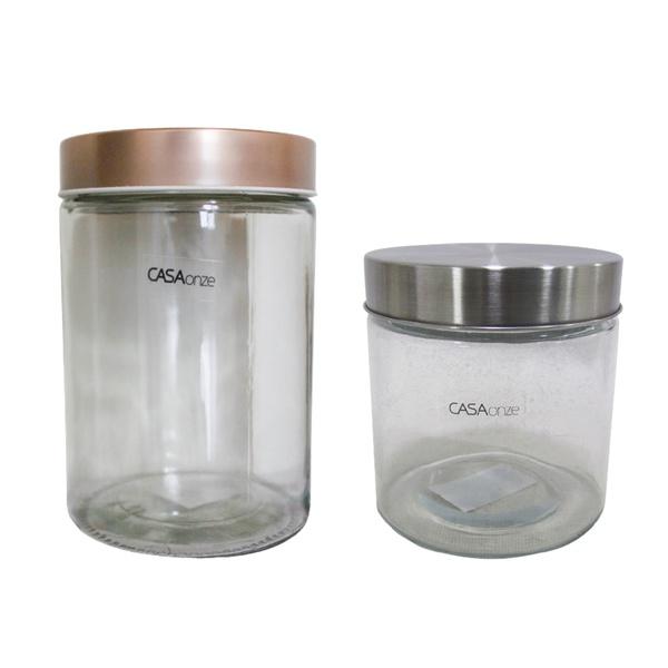 Potes de vidro com tampa de alumínio dois tamanhos casa 2 un