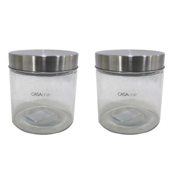 Potes de vidro com tampa de alumínio cozinha decoração 2 und