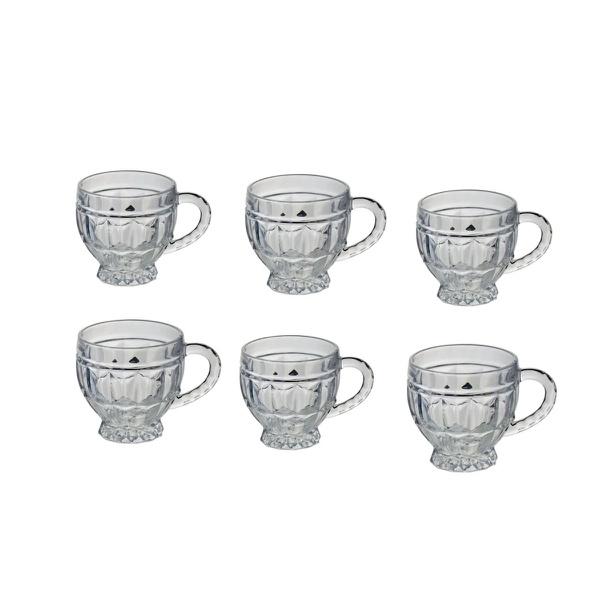 Xícara de vidro cristal seis peças