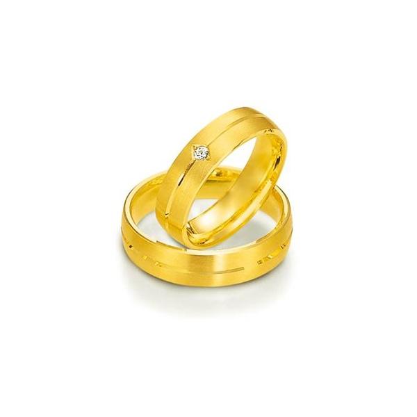 Par de Alianças de Casamento Munique em Ouro 18K Com Diamante