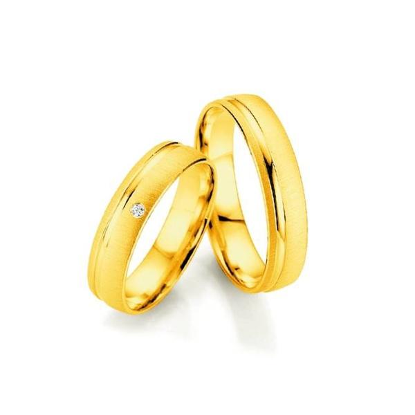 Par de Alianças de Casamento Sofia em Ouro 18k com Diamante