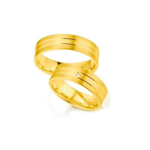 Par de Alianças de Casamento Bruxelas em Ouro 18k Com Diamante