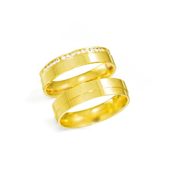 Par de Alianças de Casamento Cracóvia em Ouro 18k