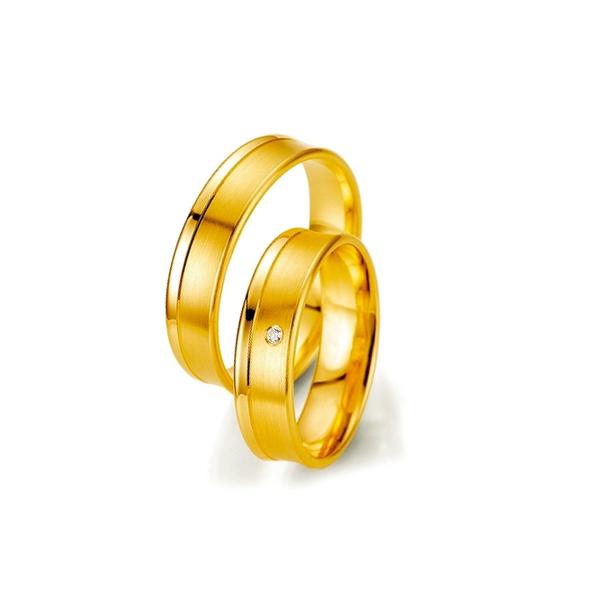 Par de Alianças de Casamento Leeds em Ouro 18k Com Diamantes