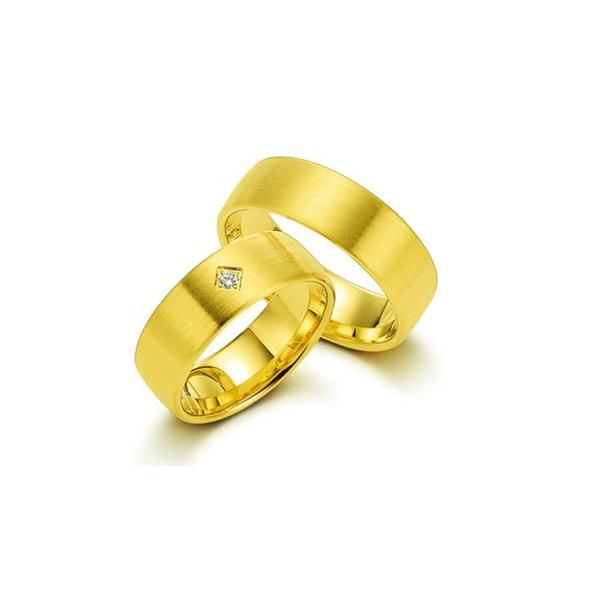 Par de Alianças de Casamento Toulouse em Ouro 18k Com Diamante