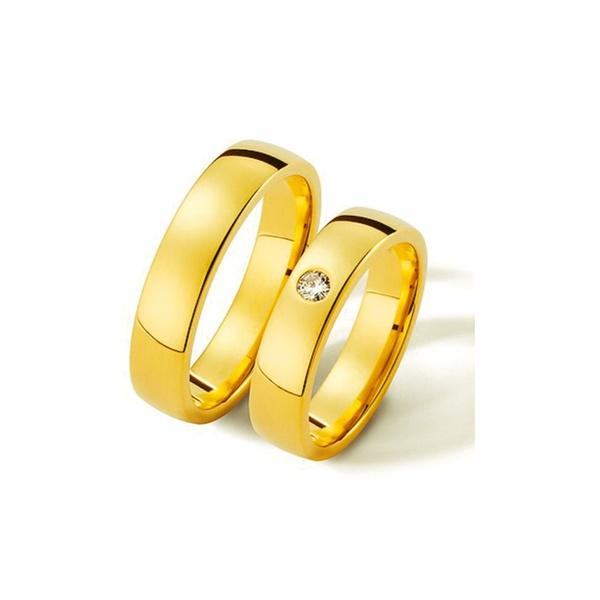 Par de Alianças de Casamento Saragoça em Ouro 18k Com Diamante