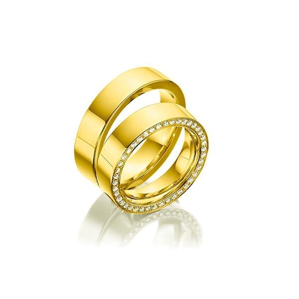 Par de Alianças de Casamento Estugarda em Ouro 18k Com Diamantes