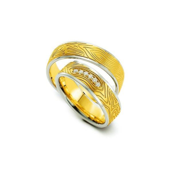Par de Alianças de Bodas Dortmund em Ouro Bicolor 18k Com Diamantes