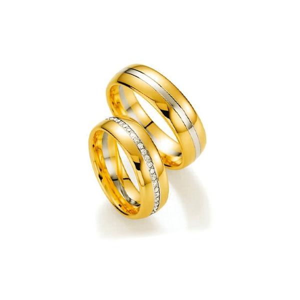 Par de Alianças de Bodas Helsinki em Ouro Bicolor 18k Com Diamantes