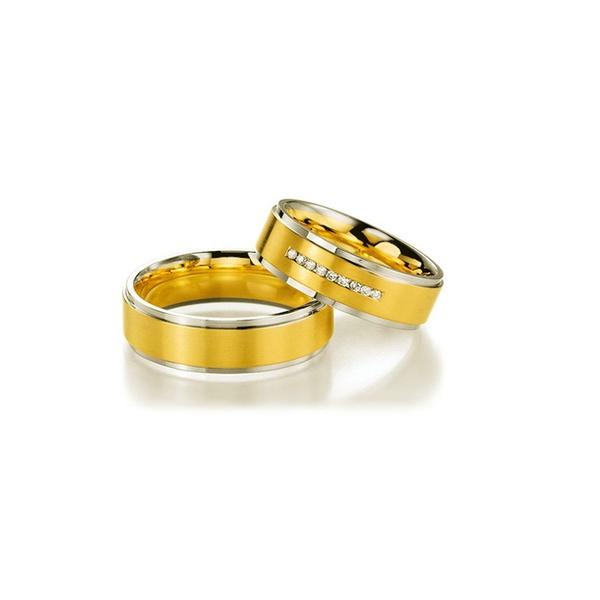 Par de Alianças de Bodas Málaga Em Ouro Bicolor 18k Com Diamantes