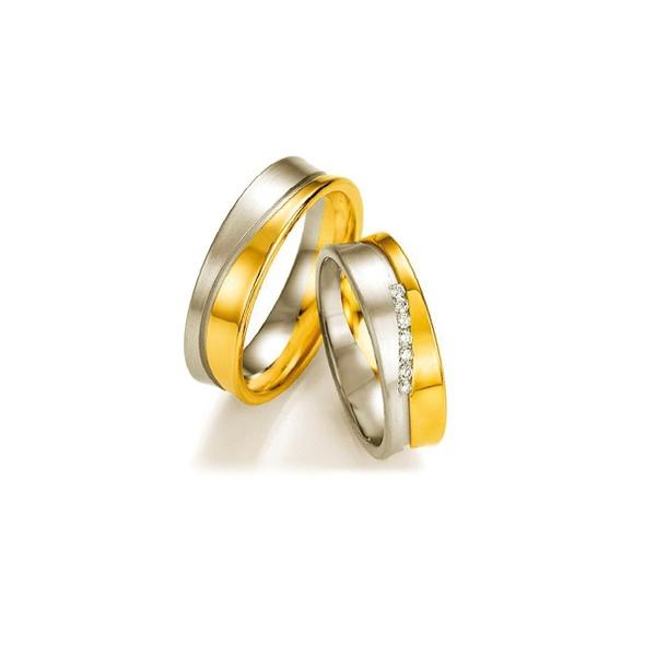 Par de Alianças de Bodas Copenhague em Ouro 18k Bicolor Com Diamantes