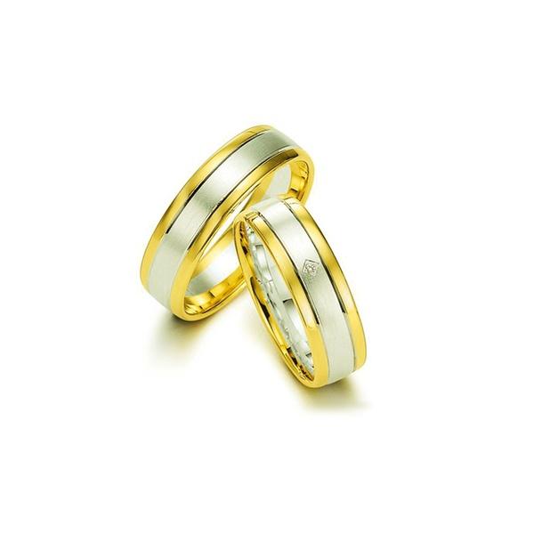 Par de Alianças de Bodas Nice em Ouro Bicolor 18k Com Diamante