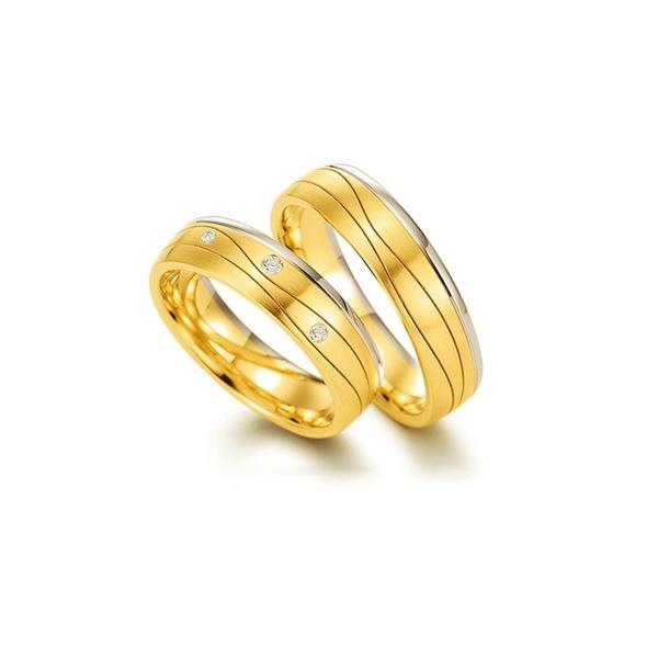Par de Alianças de Bodas Dublin em Ouro 18k Bicolor Com Diamantes